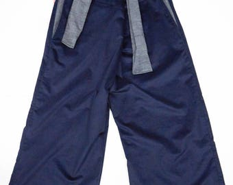 wide organic corduroy trousers with laces
