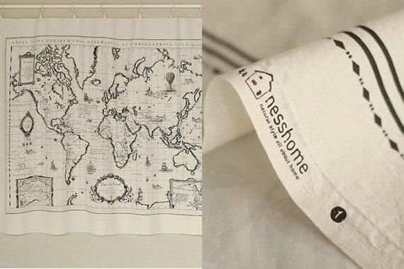 World map linen fabric world map curtain panel linen material 1598 gumiabroncs Images