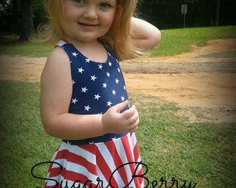 Girls July 4th dress and knotted headband, Size 4 READY TO SHIP!, Patriotic sundress, Memorial day dress, stars and stripes dress