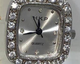 Vintage Sterling Silver watch set with cubics.