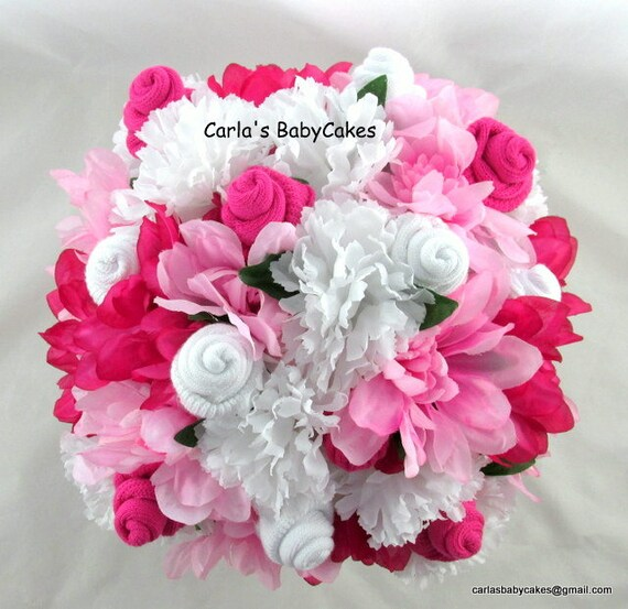 Floral baby bouquet baby sock flower arrangement baby like this item negle Choice Image