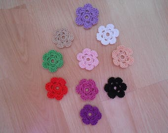 the crocheted flowers, color choices