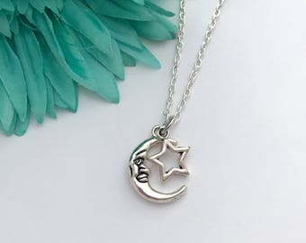 Sun and star  necklace -  moon and star with chain necklace - fun necklace - silver necklace with lobster clasp - great gift - comes wrapped