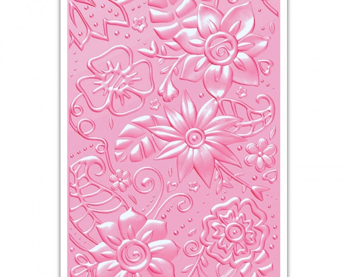 New! Sizzix 3-D Textured Impressions Embossing Folder - Bohemian Botanicals 661948