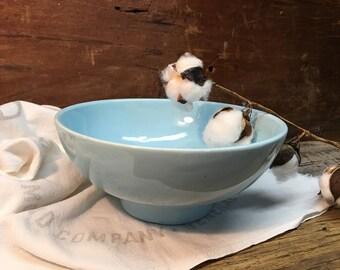 Vintage Haeger Pottery bowl/Haeger Pottery USA 101/Turquoise Blue/Farmhouse Bowl