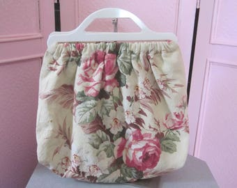 1940s Floral Bark Cloth Tote with Plastic Handles