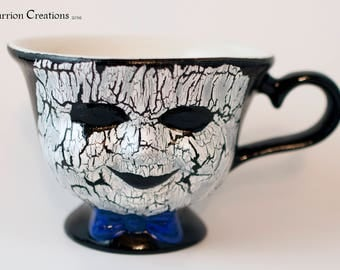 Creepy Broken Doll Face Hand Painted 3 inch Ceramic Teacup #130