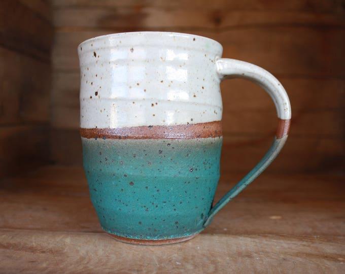 Coffee Mug - Ceramics & Pottery - White - Turquoise - KJ Pottery