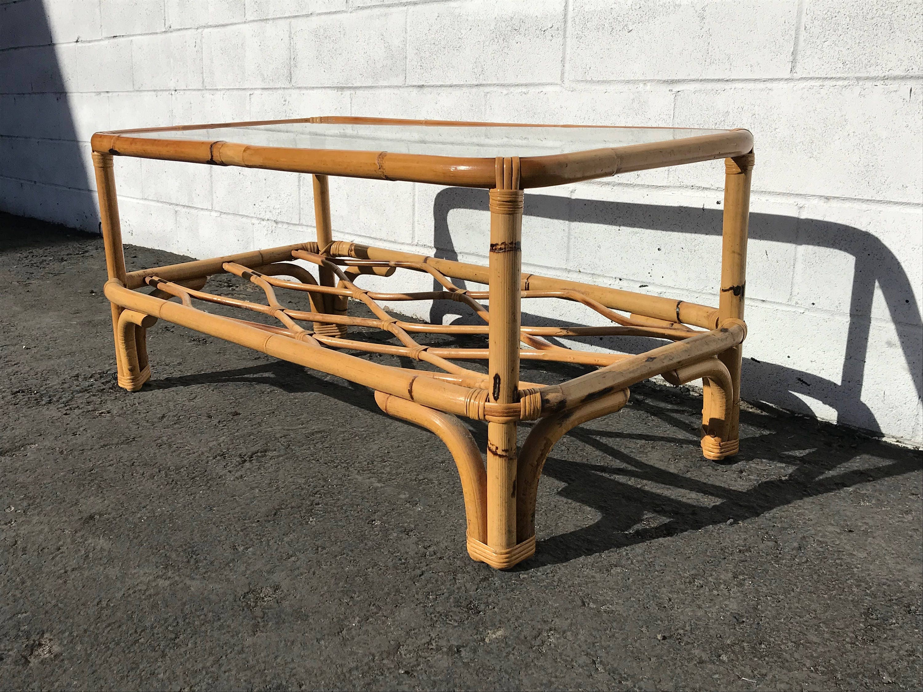 Rattan Coffee Table Cocktail Bohemian Boho Chic Accent Stand