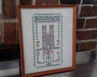 Vintage Sampler / Tapestry Westminister Abbey Historic Building