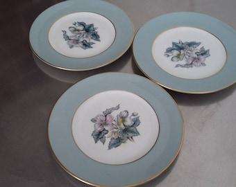 3 Royal Worcester 'Woodland' Tea Cake Plate Plates 153 mm