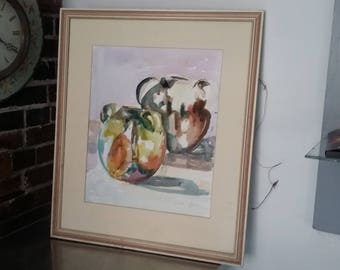 Large Original Vintage Watercolour Still Life 'The Pots From Aubeterre' Jill Emslie 1991