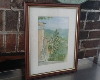 Original Watercolour hills village landscape Ruth Fowke