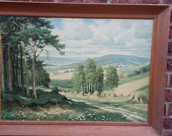 Large Framed Landscape Retro Print 'Height of Summer' E Kruger