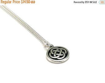 SALE Celtic Knot Necklace Silver Chain