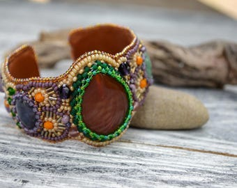 Bead Embroidered Amethyst Agate Aventurine Cuff Multicolored Hand Beaded Cuff Bead Embroidery Bracelet Embroidered Jewelry Real Stone Cuff