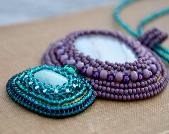 Embroidery beadwork necklace Emerald necklace Purple green Amazonite stone Beads Indie jewelry handcrafted Large Agate pendant for women