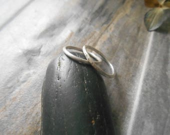 Single stacking ring, sterling silver ring, smooth or hammered ring