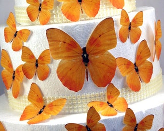 Edible Butterfly Cake Decorations, Bright Yellow Edible Butterflies, Set of 24 DIY Cake Decor, Edible Cake Decorations, DIY Wedding Cake