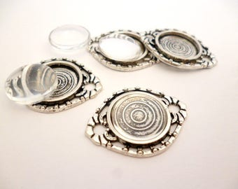 Kit Silver Tone Cameo with Glass cabochon_PA51008/65912_Two loop_Sets_of: 14mm_pack 10 pcs