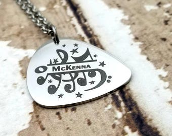 Engraved Personalized Music Note Guitar Pick Necklace, musician jewelry, musical, instrument, singer, guitar, personalized, customized