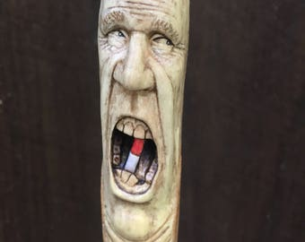Wood Carving, Walking Stick, Wood Spirit, Hand Carved Wood Art, Wood Gift for Him, Pill, Handmade Woodworking by Josh Carte, Cane, Staff
