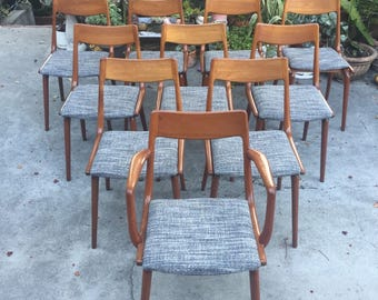 Mid Century Danish Modern Erik Chistensen Boomerang Teak Dining Chairs