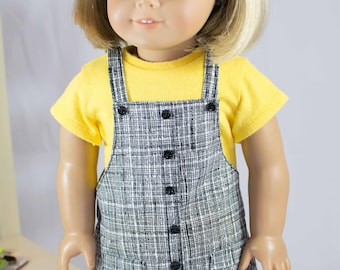 American Girl or 18 Inch Doll DRESS Jumper Black White Yellow with TEE shirt Headband and BOOTS Option