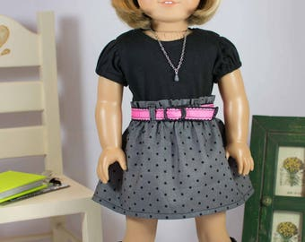 American Girl or 18 Inch Doll Mini SKIRT in Gray Black Polka Dots with Black TEE Shirt Top Belt Necklace and BOOTS Option