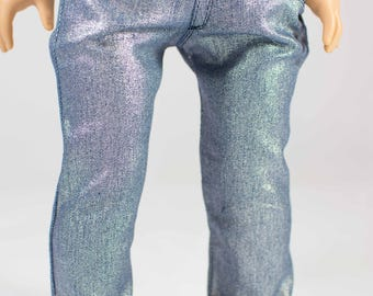 American Girl or 18 Inch Doll JEANS Pants in Silver Blue Stretch Denim with Four Working Pockets and Stitching Details