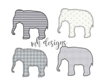 Elephant applique designs, 4 Styles, 6 sizes each, Vintage stitch elephant, Elephant embroidery design, Raggy Applique Elephant, Bean stitch