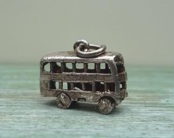 Miniature London Bus Charm / Pendant, Vintage Silver Souvenir Jewellery