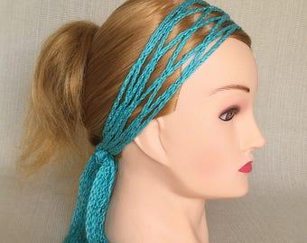 Boho head scarf wrap Crochet headband Womens head band Hippie headwrap Gypsy bandana Cotton adult headband Woman Ladies hair band scarf