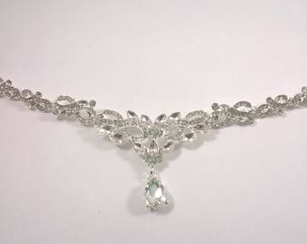 Tikka Head Chain - Silver and Crystal Bridal - Sparkling Hair Chain - Wedding Bride