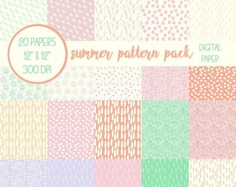 ON SALE Scrapbook Paper, Patterns, Summer, Digital Scrapbook, Digital Paper, Digital Paper Pack, Summer Colors