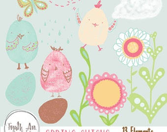Spring Clipart, Spring Chicks Clipart, Pastel, Cute, Doodle, Easter, Hand Drawn, Clipart, Digital Stamps