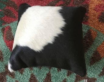 "Cowhide Pillow 12"" X 12""  Black and White  Cowboy Decor Western Southwest Cowboy Christmas H"