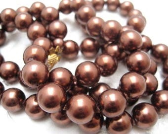 Vintage 1960s Flapper Style BROWN Faux Pearl Glass Bead Necklace