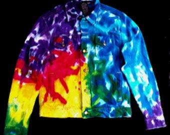 Spiral Tie Dye Jean Jacket Levis Large
