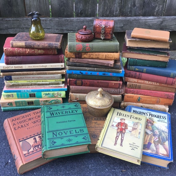 vintage book lot from Etsy the painted trunk