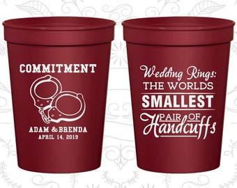 Wedding Rings, The Worlds Smallest Pair of Handcuffs, Personalized Plastic Cups, Handcuffs, Commitment, stadium cups (505)