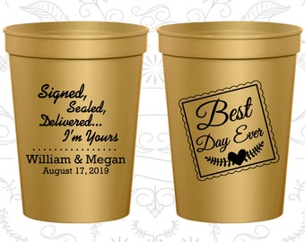 Gold Stadium Cups, Gold Cups, Gold Party Cups, Gold Wedding Cups (591)