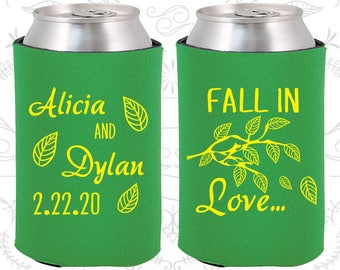 Fall In Love Wedding Favors, Personalized Favors, Fall Wedding Favors, Leaves, Wedding Can Coolers (283)