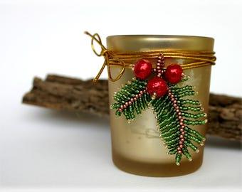 ChristmasPineBranch pendant beading TUTORIAL