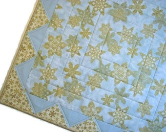 "Christmas Quilted Table Topper, Square Christmas Table Mat, Pale Blue and Gold Snowflake Table Topper, 26.75"" x 26.75"", Quiltsy Handmade"