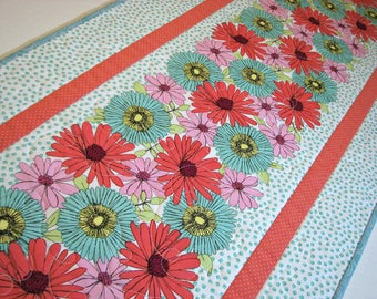 "Spring Quilted Table Runner, Easter Quilted Table Runner, Retro Floral Table Mat, Modern Spring Table Runner, 16""x39"", Quiltsy Handmade"