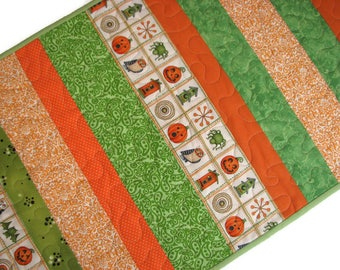 "FREE SHIPPING To Canada and USA, Halloween Quilted Table Runner, Autumn Table Runner, Scrappy Quilted Table Mat, 39""x16"", Orange and Green"