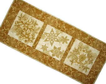 Gold Christmas Quilted Table Runner, Elegant Holiday Table Mat, Reversible Christmas Table Runner, 15 in. x 34 in., Quiltsy Handmade