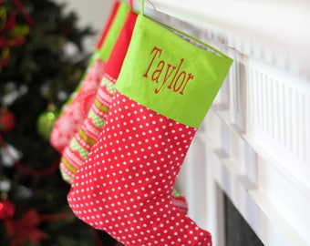 christmas stocking ready to hang for santa to fill on christmas day monogrammed