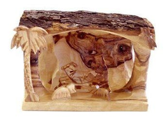 "Olive Wood Bethlehem Cave Nativity-Small (3.5""Hx5""W)."